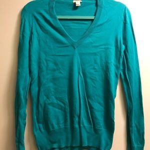J. Crew Factory Cotton v-neck sweater turquoise S